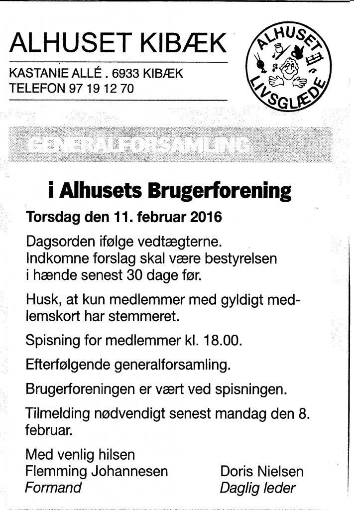 2016-26-01 Annonce Ugeposten Generalforsamling